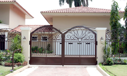 Iron front gate of a luxury home