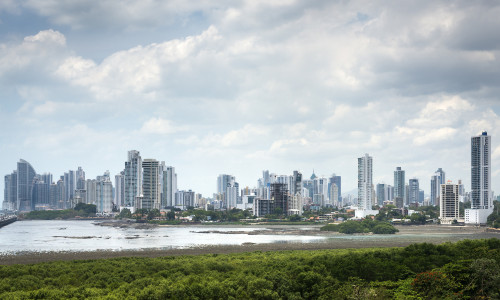 Panorama of Panama city during cloudy day